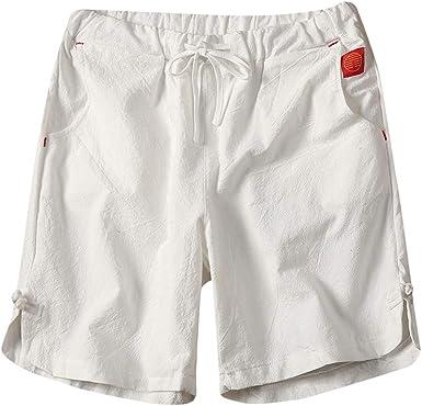 Pantalones Cortos de Hombres Lino de algodón Short Pantalón Corto de Verano Talla Grande Moda Color Sólido Bermudas Suelto Surf Deportivos Chándal Vacaciones MMUJERY: Amazon.es: Ropa y accesorios
