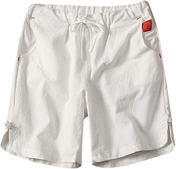 Pantalones Cortos de Hombres Lino de algodón Short Pantalón Corto ...
