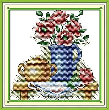 Süße Stickpackung Kreuzstich TEE KANNTE (4) Stickbild vorgezeichnet ...