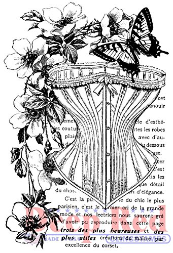 Deep Red Stamps Corset Collage Rubber Stamp