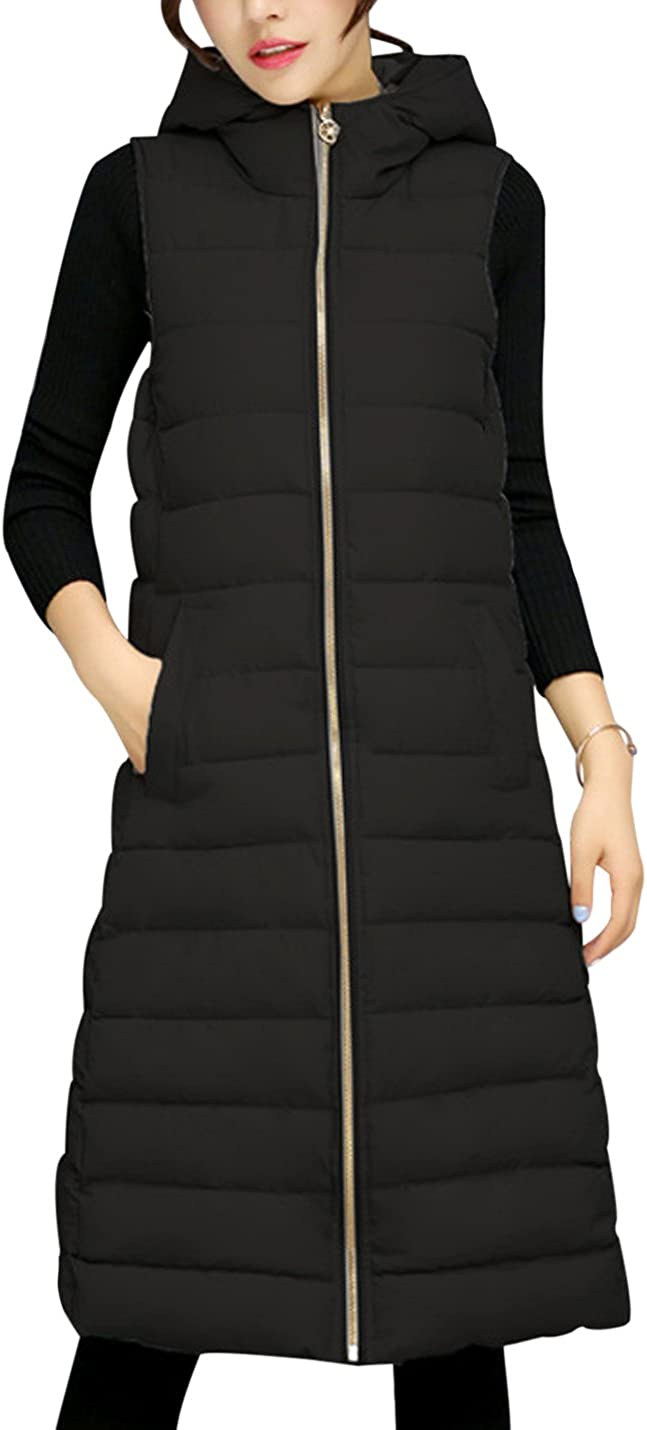 Tanming Women's Winter Cotton Padded Long Vest Coat Outerwear with Hood
