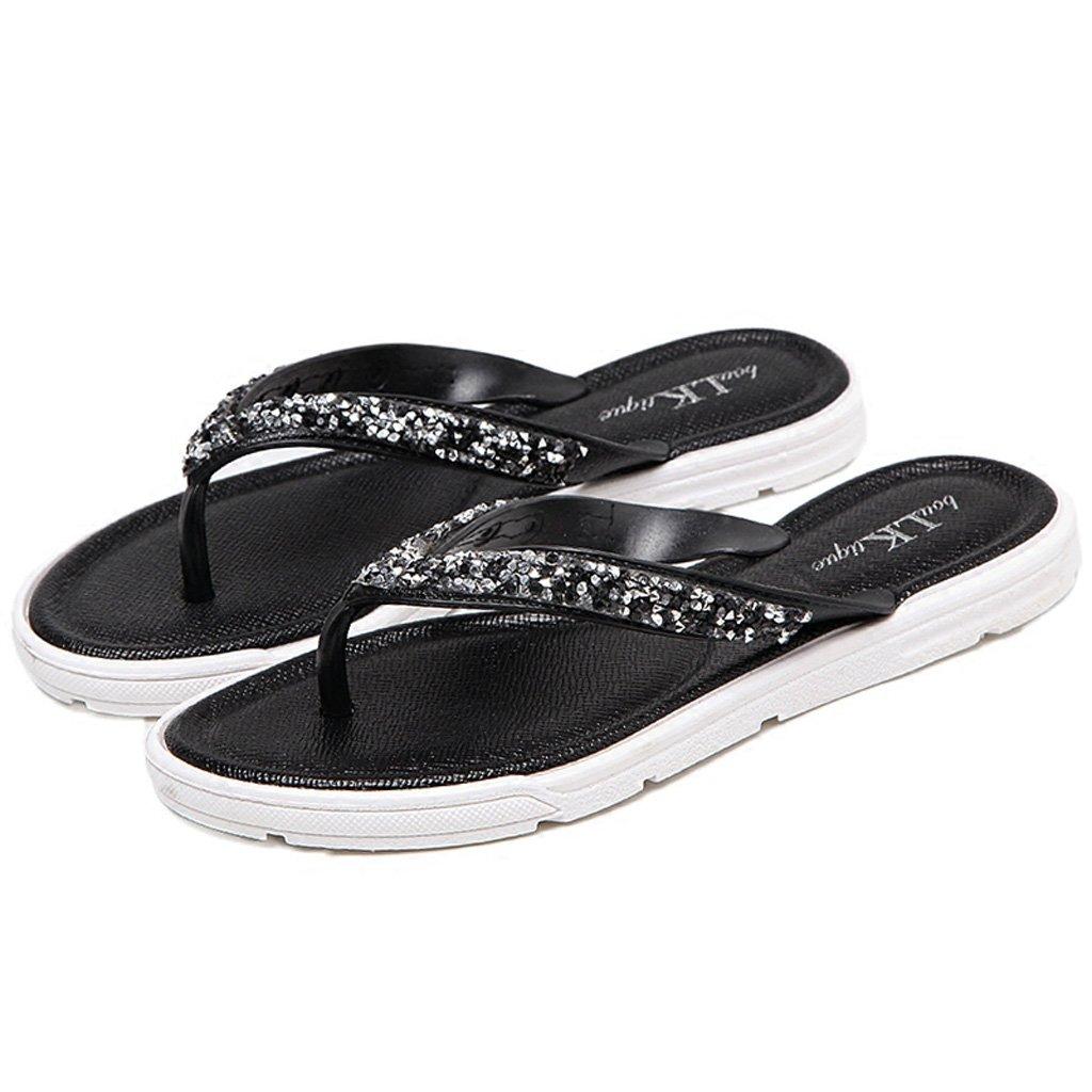 AJZGF Tragende Sandalen der Weiblichen Sommermode Draußen Keile mit Flipflops Strand Beschuht Frauen. (Farbe   Schwarz Größe   2UK=35EU)