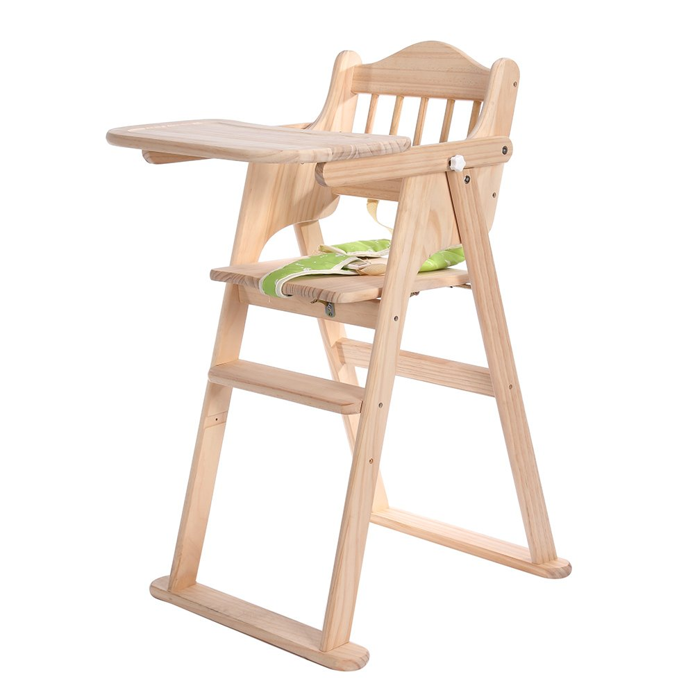 High Chair, Homkit Height Right Wooden Portable Baby High Chair with Infant Insert and Tray Bouncer for Sitting