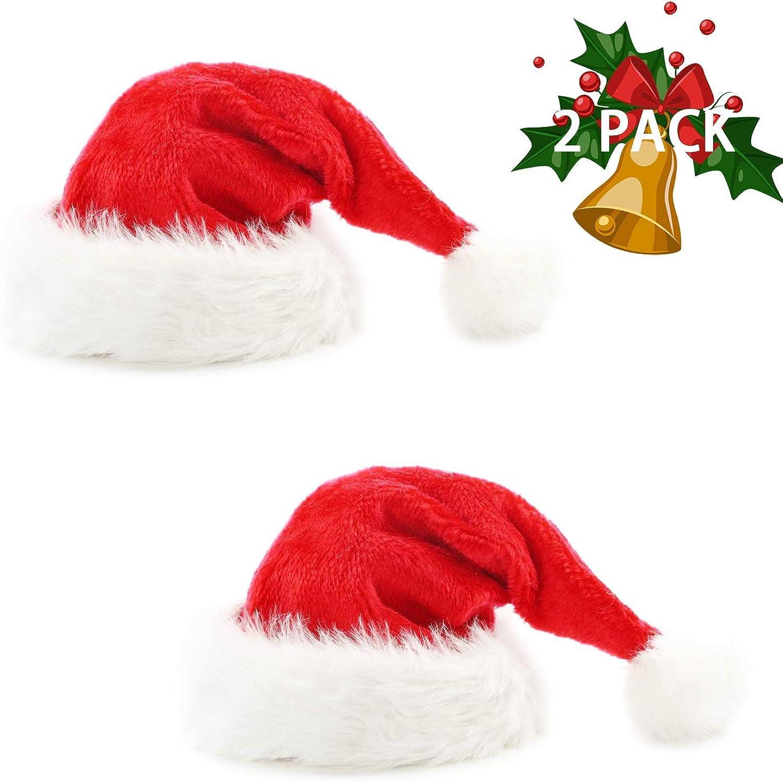 HUICOCY Santa Hat,Unisex Velvet Fabric Christmas Hat with Comfort Lining/&Plush Brim Red