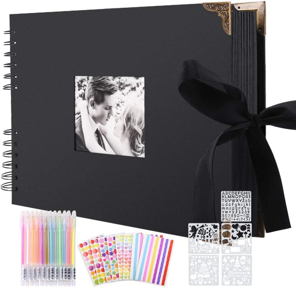 Album de Fotos Scrapbook Espiral, 80 Páginas Negras DIY Scrapbooking Album Set con 2pcs Photo Corners 6pcs Pegatinas 5pcs Plantillas 12 Rotuladores de Colores, para Boda Aniversario Cumpleaños Navidad