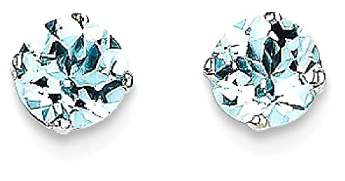 ICE CARATS 14k White Gold 5mm Blue Aquamarine Stud Ball Button Earrings Birthstone March Prong Fine ...