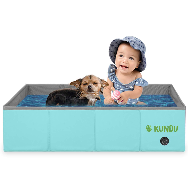 Kundu Rectangular (31'' x 20'' x 8'') Heavy Duty PVC Pets & Kids Outdoor Pool/Bathing Tub - Portable & Foldable - Small