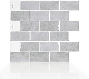 "Smart Tiles Self Adhesive Wall Tiles - Subway Fondi - 4 Sheets of 10.95"" x 9.70"" (27.81 cm x 24.64 cm) Kitchen and Bathroom Stick on Tiles - 3D Peel and Stick Backsplash"