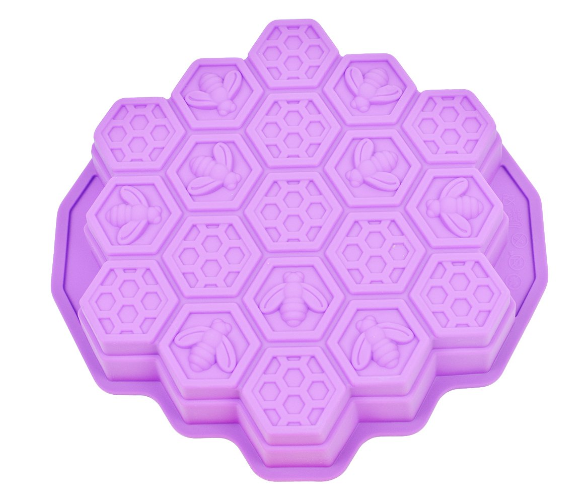 Honeycomb Cake Molds for Kids, HapWay 19 Cavity Silicone Honey Comb Bees Soap Mold Cake Baking Moulds Pull-Apart Dessert Cake Pan Mold