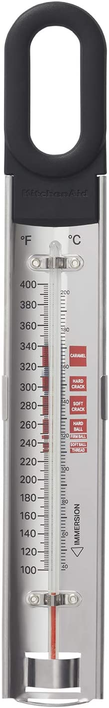 KitchenAid KQ907 Curved Candy and Deep Fry Thermometer, TEMPERATURE RANGE: 100°F to 400°F/40°C to 200°C, Black