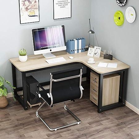 Escritorio esquinero para computadora esquinera en forma de L para el hogar, escritorio simple de aprendizaje, mesa de escritura para estudiantes 160 * 80 * 74 Marco blanco y negro.: Amazon.es: Hogar
