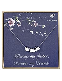 CHICLOVE Tiny Heart Necklace, Three Sister Gift, Gift for Best Friend,Dainty Heart Necklace, Delicate Necklace, Bridesmaid Gift (Sister Necklace)