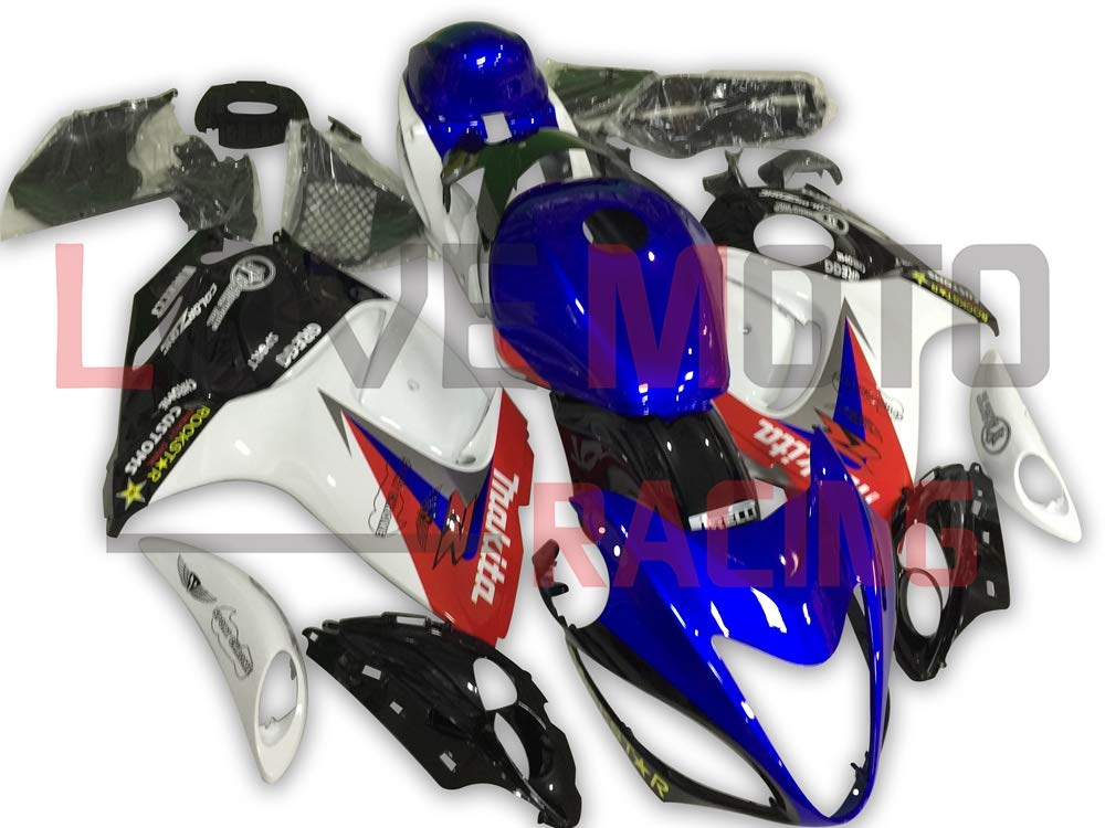 LoveMoto ブルー/イエローフェアリング スズキ suzuki GSXR 1300 Hayabusa 2008-2015 08-15 GSX-R 1300 ABS射出成型プラスチックオートバイフェアリングセットのキット ブルー ホワイト   B07KF88V8Z