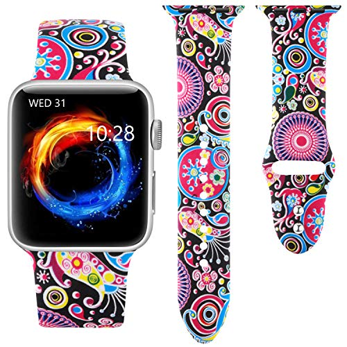 Haveda Floral Bands Compatible with Apple Watch Band 42mm 44mm, Soft Pattern Printed Silicone Sport Replacement Wristbands for Women Men Kids with iWatch Series 4 Series 3/2/1, M/L, Colorful Jellyfish
