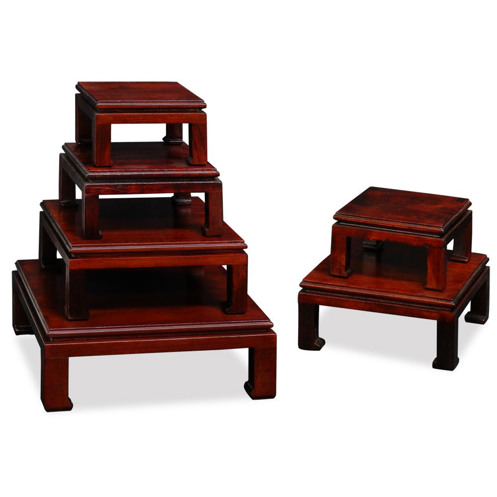 ChinaFurnitureOnline Chinese Wooden Stand, Hand Crafted Square Display Pedestal