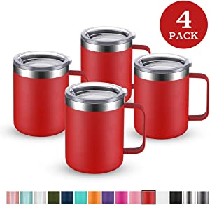 Civago Stainless Steel Coffee Mug Cup with Handle, 12 oz Double Wall Vacuum Insulated Tumbler with Lid Travel Friendly (Red, 4 Pack)