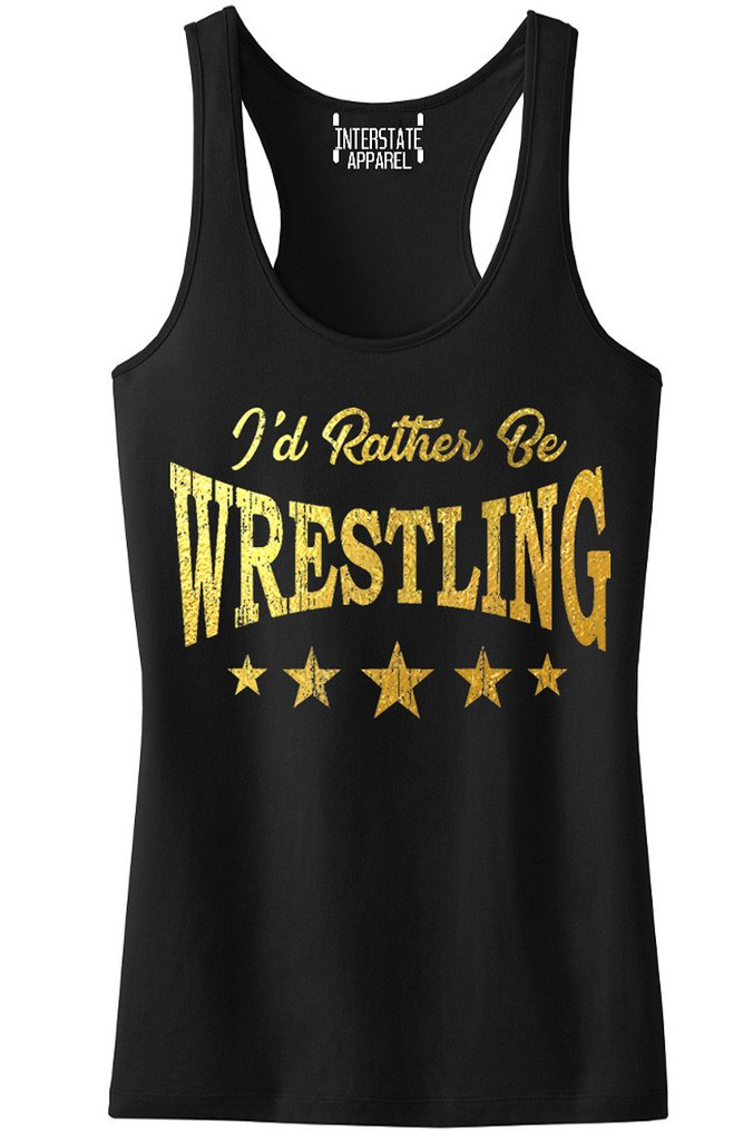 Interstate Apparel Inc Junior's Gold Foil I'd Rather Be Wrestling Black Racerback Tank Top T-Shirt Large Black