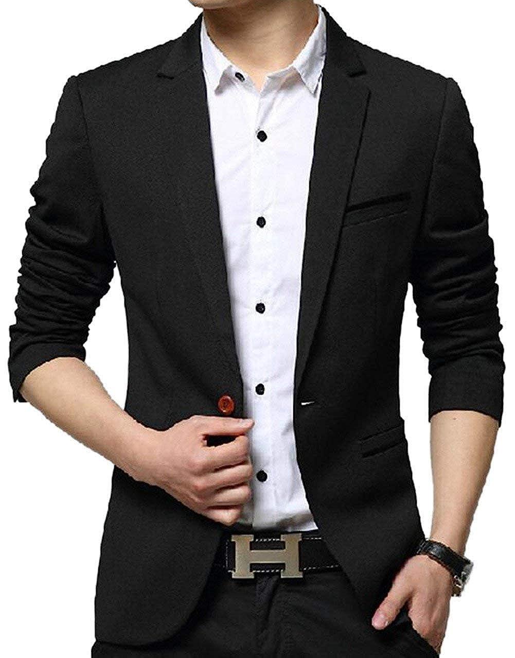 HX fashion Mens Blazer Slim Fit Leisure Blazer Casual Men Nner Comfortable Sizes Business Wedding Party Suit Business Mens Blazer 1 Button Jacket Clothing