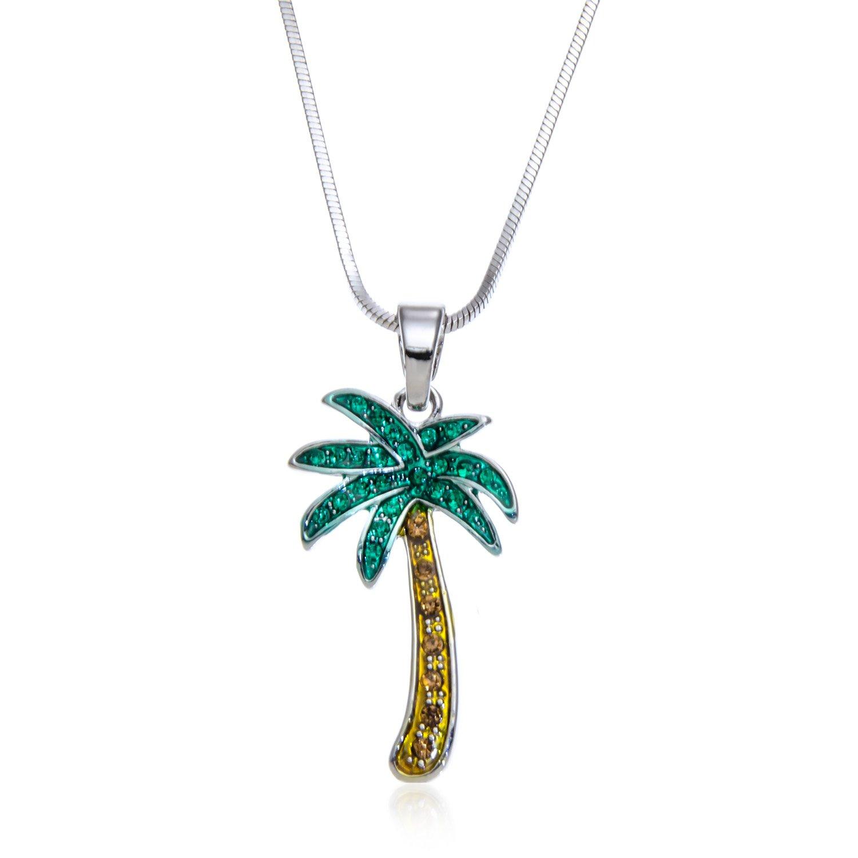 PammyJ Green Crystal Palm Tree Pendant Necklace, 17''
