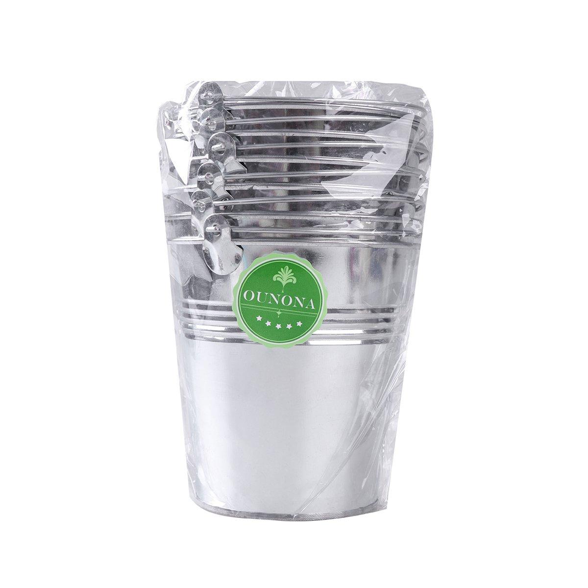 OUNONA Mini Metal Bucket Set of 6 /Mini Food Containers/Succulent Wedding Buckets 10.5x7.2x10.5cm by OUNONA (Image #8)