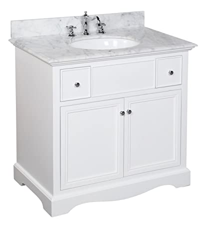 Emily 36 Inch Bathroom Vanity Carrara White Includes A White Cabinet An Italian Carrara Marble Countertop Soft Close Drawers And A Ceramic Sink