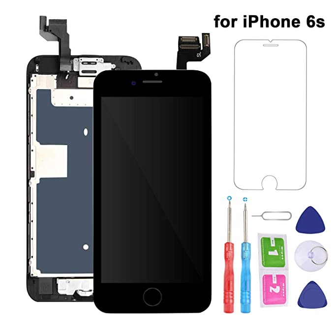 new style 78850 0b690 For iPhone 6S Screen Replacement LCD Black - with Home Button Proximity  Sensor Ear Speaker Front Camera Screen Protector and Repair Tools