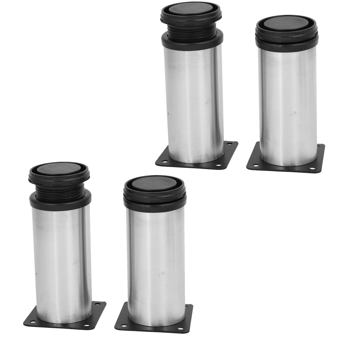 uxcell 50mm x 120mm Metal Adjustable Table Cabinet Feet Leg Round Stand 4PCS