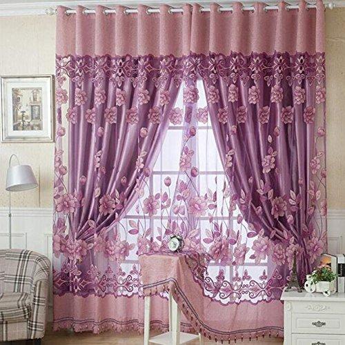 (Guo Nuoen 250cm100cm Print Floral Voile Door Elegant Cosy Tassel Pendant Curtain Blackout Window Room Divider Scarf)