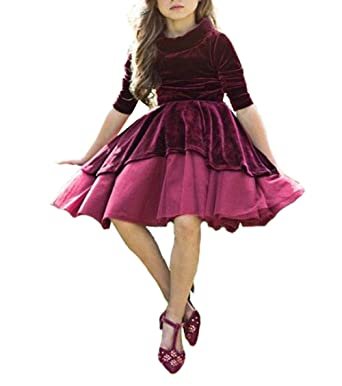 9a64d28a6490 Cute Girl s Burgundy Long Sleeve Velvet Holiday Dress Flower Girl Dress   Amazon.co.uk  Clothing