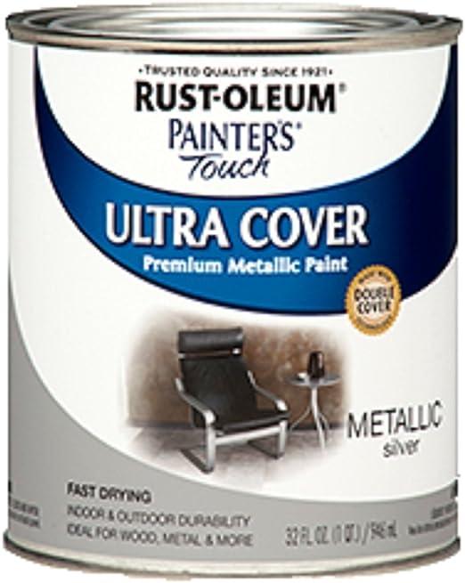 Rust Oleum 254100 Painters Touch Quart Oil Based Metallic Silver