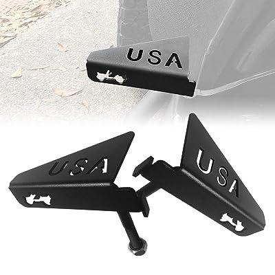 Allinoneparts JK JKU Foot Pegs USA Style for 2007-2020 Jeep Wrangler JK JKU Accessories, Black - Pair: Automotive