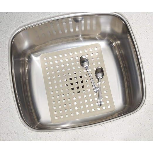 Incluye un protector de fregadero y una rejilla para fregadero para evitar ara/ñazos en fregaderos dobles gris topo mDesign Juego de 2 accesorios para cocina Accesorios de cocina en pl/ástico