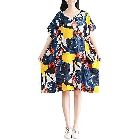 IZZB Mode Damen Sommer Partykleid Kurzarm-Blumendruck O-Ausschnitt Lose Baumwolle Polyester Pullover Freizeitkleid Abendkleid