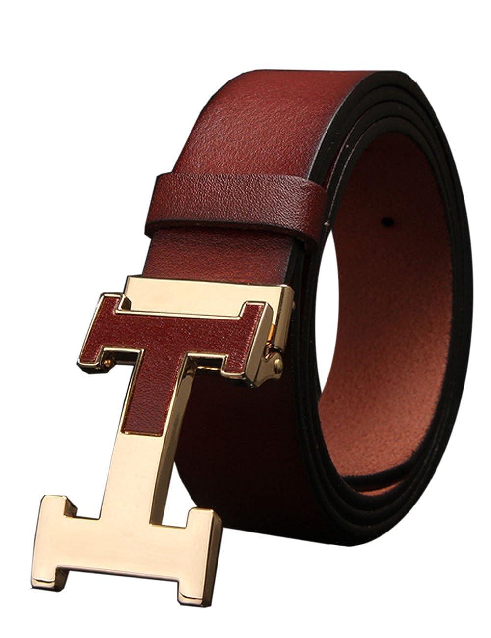Herren Echtes Büffel Leder Gürtel mit Schlupf Schnalle Jeans Hose Gürtel Voellig verstellbar 35mm rot GB-FBAT221-1-Red BRWN-130