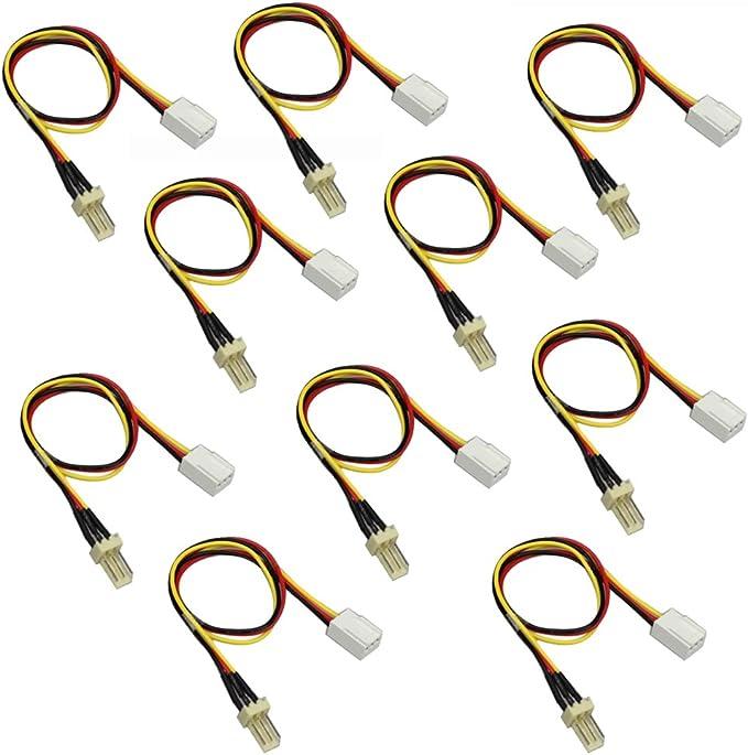 Demiawaking 10stk 12v 3 Pin Stecker Auf 3 Polige Computer Zubehör