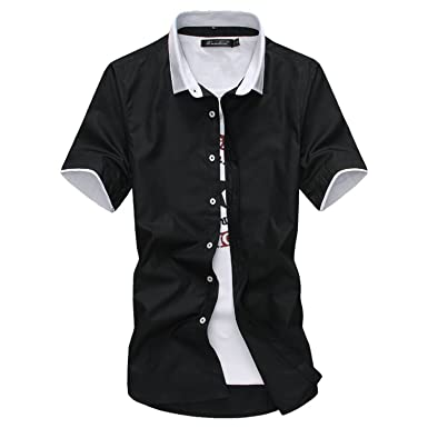 07a1c42d0cb09 2018 Men's Short Sleeve Dress Shirts Collar Spell Color Slim Fit ...