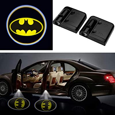 3D Wireless Magnetic Batman Car Door Step LED Welcome Logo Shadow Ghost Light Laser Projector Lamp(Yellow Batman): Home Improvement