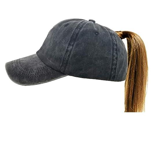 Eohak Distressed-Washed Ponytail Baseball Hat - Women Men High Messy bun  Baseball Cap Retro 3139890ebb7