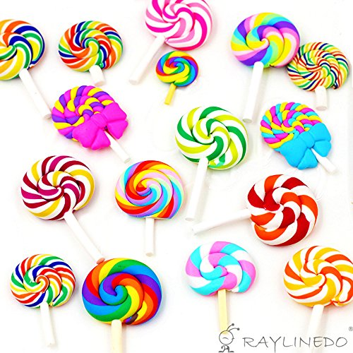 RayLineDo 16pcs Random Lollipop Shape Polymer Clay Embellishmentst Rainbow Color DIY Cabochon Craf Scrapbook -