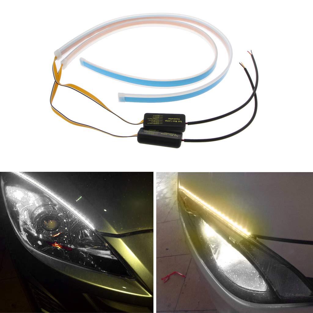 EcLife se/ñal de giro DRL de 45 cm ultrafinos Faros LED de circulaci/ón diurna para coche flexibles