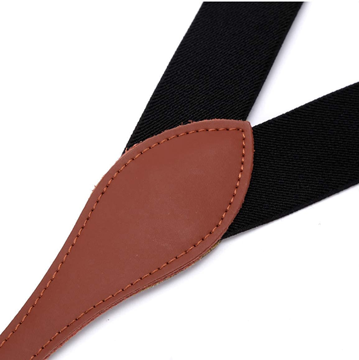 Mens Y-Back Elastic Suspenders With Genuine Leather 4 clips