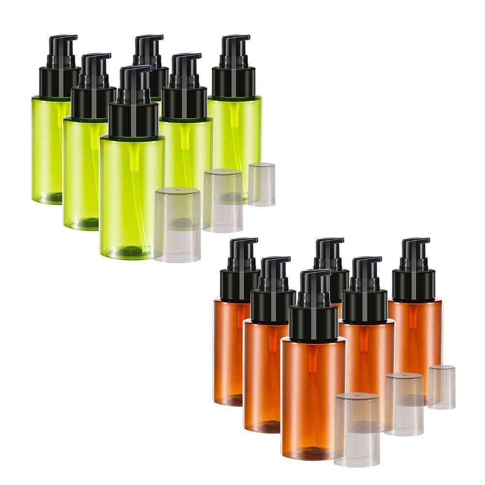 set 60ML Botellas verdes de vidrio /ámbar Botellas vac/ías Mousses de pl/ástico Contenedores de espuma l/íquida Dispensador Botellas de bomba Tarro Olla para viajes Sub botella Botella de viaje 6Pcs