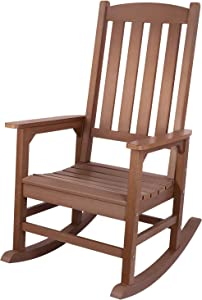 Outdoor Rocking Chair, Presidential Rocking Chair Supports up to 350 lbs, All-Weather Polystyrene Rocker, Oversized Porch Rocking Chair, for Garden, Balcony, Backyard and Patio
