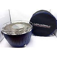 Lotusgrill Grill blau Edelstahl Stahl Kunststoff klein Grill günstig kaufen Camping Balkon Picknick ✔ rund ✔ tragbar rauchfrei ✔ Grillen mit Holzkohle ✔ für den Tisch