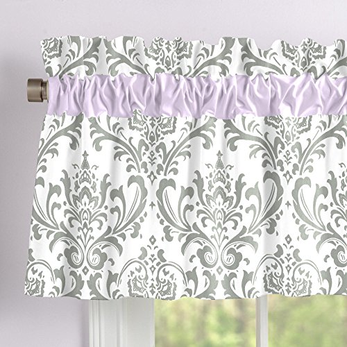 Carousel Designs Lilac and Gray Traditions Damask Window Valance Rod Pocket by Carousel Designs