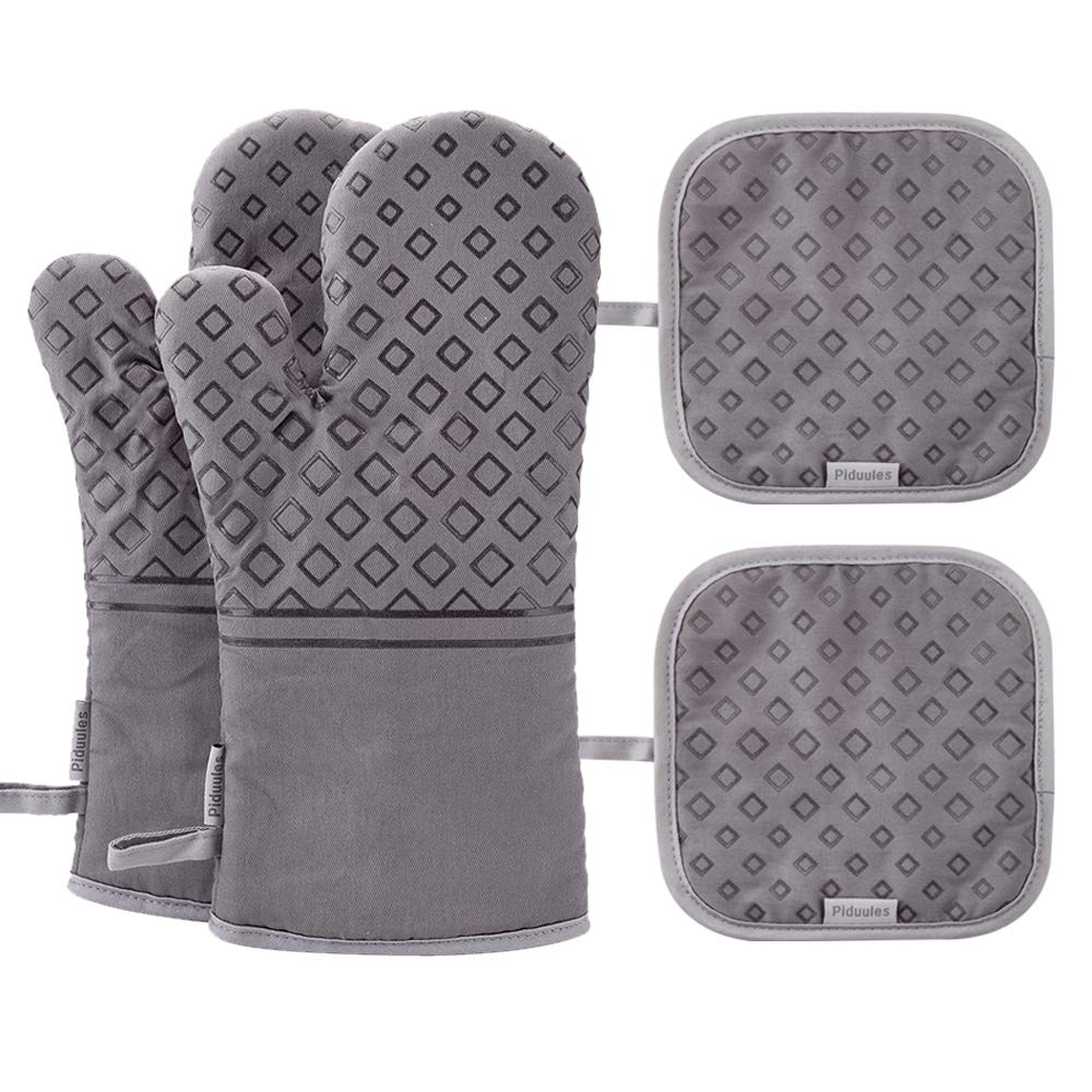 Piduules Set of 4 Oven Mitts and Pot Holders, 482 F Heat Resistant Hot Plate Moving Non-Slip Gloves for BBQ, Grill, Baking, Cooking, Oven, Microwave (Gray)