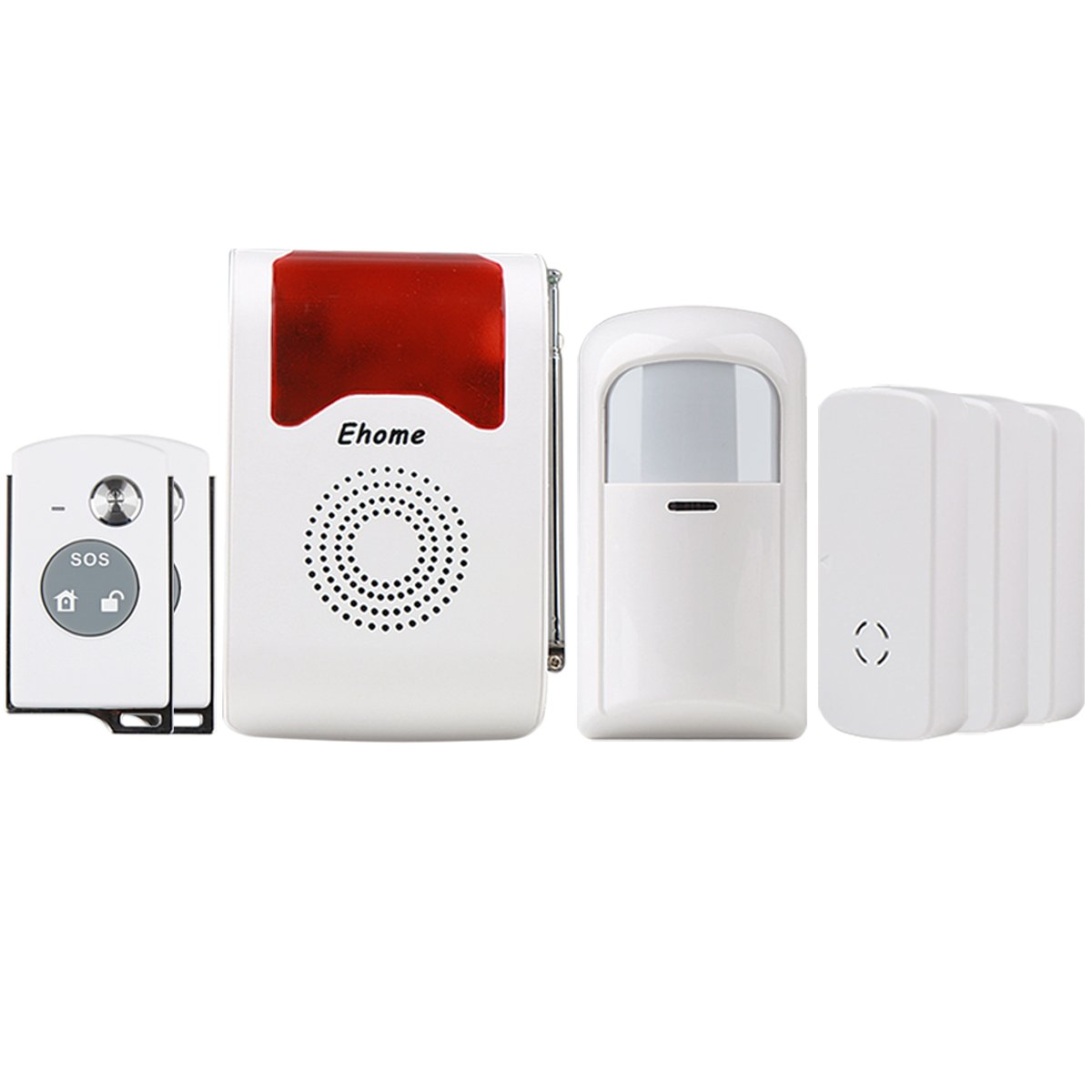 Ehome Wireless Acousto-Optic Home Security Alarm System Wireless PIR Motion Infrared Detector 3 Pairs Door Alarm Sensor Anti-Theft SOS System with 2pcs Remote Controller AF01512