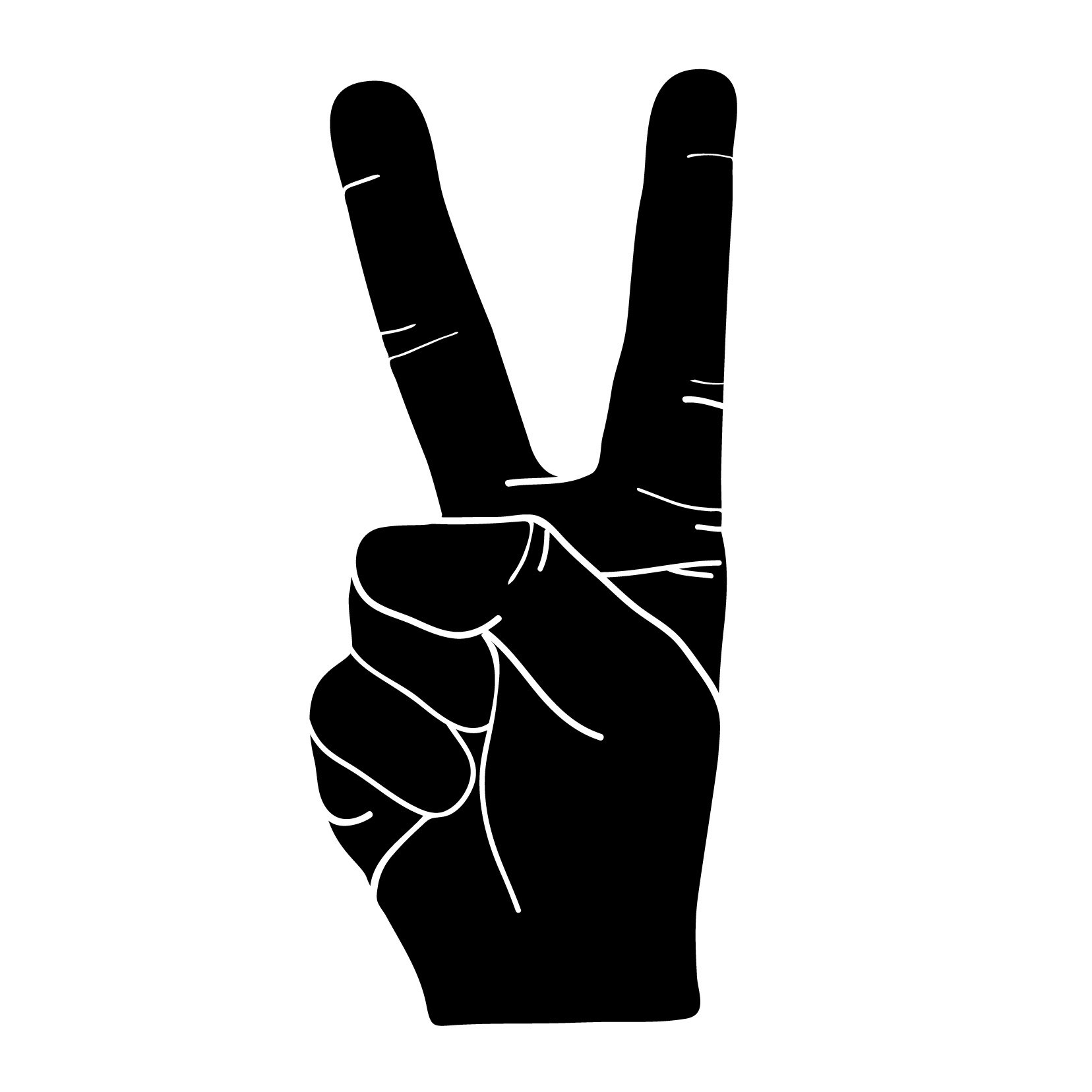Peace Hand Sign Silhouette - Small - Smartphones, Tablets, and Computers - Vinyl Wall Art Decal for Homes, Offices, Kids Rooms, Nurseries, Schools, High Schools, Colleges, Universities, Interior Designers, Architects, Remodelers