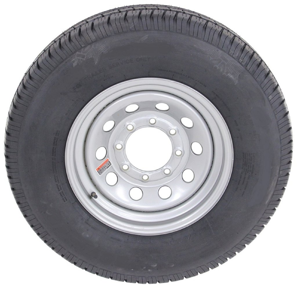 16 Silver Mod Trailer Wheel 8 Lug with Radial ST235/80R16 Tire Mounted (8x6.5) bolt circle Wheels Express Inc 16865sm23580