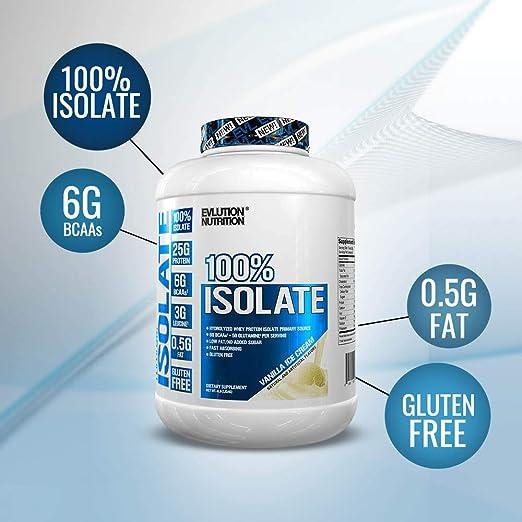 Evlution Nutrition 100% Whey Isolate Protein, Fuente Primaria Aislada de Proteína de Suero Hidrolizada, Absorbe la Grasa, Sin Azúcar Agregada, Helado ...